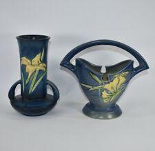Vintage Roseville Pottery Blue Zephyr Lily Vase 131-7 And Freesia Basket 390-7