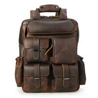 """Vintage Men's Leather 14"""" Laptop Backpack Shoulder Bag Travel School Bag Handbag"""