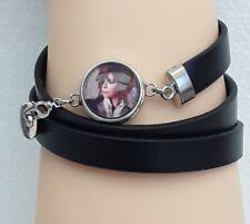 bracelet, cuir noir, mylène farmer, bouton pression ,  triples tours
