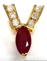Vintage 14K Yellow Gold Natural Ruby Fine Diamond Ladies Chevron Slide Pendant