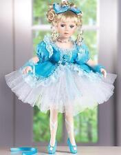 "Porcelain Ballerina Doll w/ Sparkling Blue Tulle Dress & Matching Shoes 16""H"