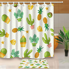 Pineapple and cactus Shower Curtain Bedroom Decor Waterproof Fabric & 12 Hooks