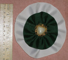 """4 1/2"""" Deluxe Cockade White and Green"""