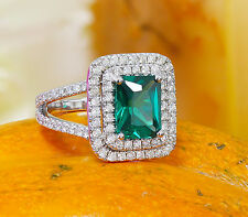 18K WHITE GOLD EMERALD AND DIAMOND ENGAGEMENT RING DOUBLE HALO SPLIT BAND 2.70CT