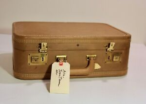Vintage Small Suitcase Tan with Peach Interior