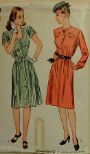 Vtg 1940s WWII Unprinted Street  Dress Bodice Details Simplicity 1389  Bust 32