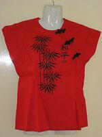 NEU  rot-schwarze Damen-Blusen Größe 164 oder S, mit asiatischen Zeichen