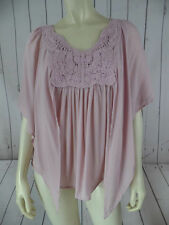 THESIS ANTHROPOLOGIE Top Blouse M NEW $68 Rayon Pale Pink Crochet Applique BOHO!