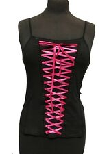 Raven Gothic Punk Black Cotton Vest With Pink Corseted Front One Size
