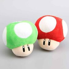 Super Mario Bros Set of  Green and Red Mushrooms Plush 8""