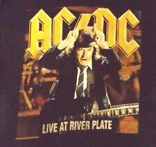 VINTAGE LARGE BLACK AC/DC LIVE AT RIVER PLATE CREW NECK  100% COTTON T SHIRT