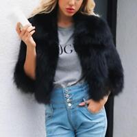 Women Winter Warm Faux Fur Coat Half Sleeve Short Cardigan Jacket Outwear Tops