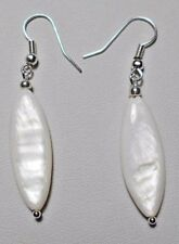 Dangle earrings - 30mm. long white shell drops