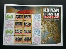 Malaysia HAIYAN Typhoon Disaster Relief Fund 2012 (personal stamp sheet) MNH