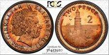 2000 AA GIBRALTAR TWO PENCE PCGS MS62RB CIRCLE TONED COIN ONLY 9 GRADED HIGHER