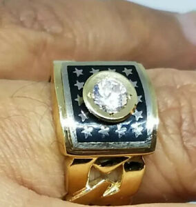 GOLD mens RING solid real natural ONYX simulated diamond 10 ask 8 9 11 12
