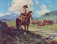 1930 FRANK T JOHNSON,The Lone Cowboy, Western, Horse Range, 17x13 CANVAS ART