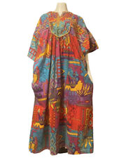 Vintage Designer Lounge Wear Bold Psychedelic Floral Cotton Kaftan Dress Muumuu
