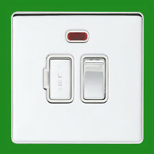 1x 13A 2 Way Switch Fused Spur Neon Light Brushed Chrome Screwless