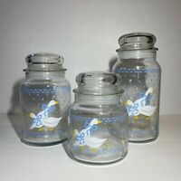 Anchor Hocking Goose Painted Lidded Canister/ Candy Jar, Blue/White Set MINT