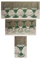 Vintage Drinking Glass Goblets 16 oz. Green Thick Stem Bell Shape 4-Piece Set