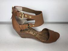 Sam Edelman Womens Brown Leather Wedge Heels Bucles & Zipper Size 7.5 M