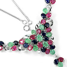 Silver 925 Genuine Natural Sapphire, Emerald & Pink Ruby Cluster Necklace 18 In