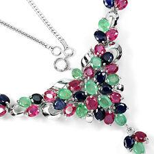 Plata 925 Genuina Natural Zafiro, esmeralda y rosa collar de Cluster de Rubí 18 en