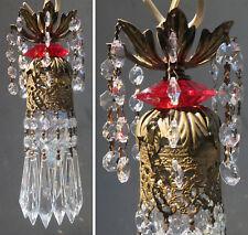 Lucite Ruby red SWAG filigree Crystal lamp Vintage chandelier Hollywood Regency