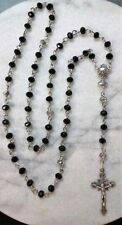 First Holy Communion Rosary Hand made black & white Swarovski Crystals-Catholic