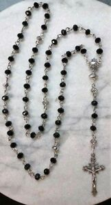 First Holy Communion Rosary Hand Made Black & White Glass Crystals-Catholic
