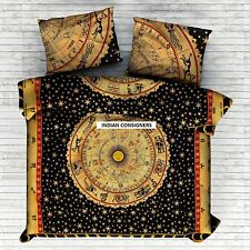 Zodiac sunsign Duvet Cover Yellow Cotton  Queen Size Bohemian Boho Hippie  Doona
