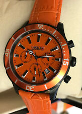 Luxury Chronograph Cavadini Watch Turnable Ring Ip-Black Plat.orange Face