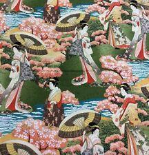 Springs Creative - Japanisch Damen Geisha Garten landschaftlich - 100% Baumwolle