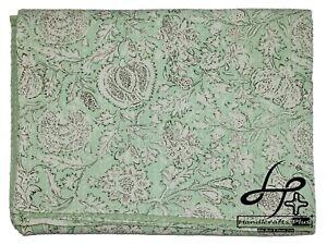 Handmade Kantha Quilt Indian Green Mint Block Print Bedspread King Size Coverlet