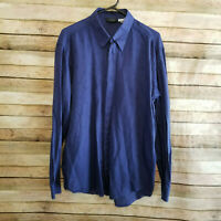 Versace Classic V2 Mens Long Sleeve Button Down Blue Made in Italy Sz 16/41 GUC