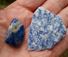 2 x BLUE SODALITE CRYSTALS - 1 ROUGH RAW & 1 POLISHED STONE * BAG & ID CARD