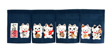 JAPANESE Noren Curtain NEW  NAVY HAPPY CAT MADE IN JAPAN COTTON