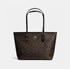 New Coach F58292 Signature City Zip Tote Handbag Purse Bag Black Brown Black