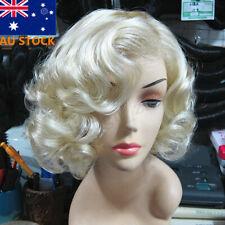 Women Short Light Blonde Wavy Curly Hair Cosplay Marilyn Monroe Party Wigs
