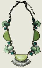 Lia Sophia  GLACIAL Mint Green Clear Rhinestone Statement Necklace Silver Tone