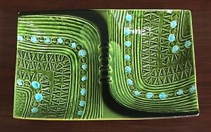 Mid Century Bitossi Era Double Ashtray / Green Dip Bowls Fork Rests Made n Italy