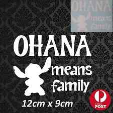 Ohana Means Family Stitch Disney Sticker Decal White or Pink Vinyl Car Vehicle