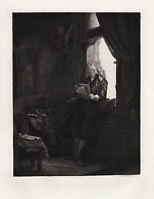 "Grand 1800s REMBRANDT Etching B285 ""Jan Six Reading the Paper"" SIGNED Framed COA"
