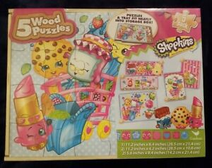 NIB Shopkins 5 Wood Puzzles Set Pack with Wooden Tray Storage Box BRAND NEW