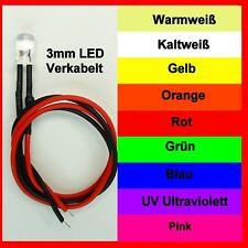 LED 3mm  16-24V mit Widerstand verkabelt 9 Farben Stückzahl Wählbar