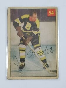 1954-55 Parkhurst #54 Joe Klukay Lucky Premium Bruins Vintage Hockey Card