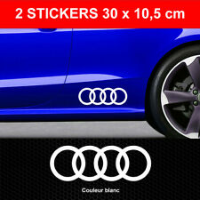 Stickers A3 A4 A5 ANNEAUX Blanc 2 Autocollants GRAND FORMAT Audi compatible