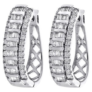 10K White Gold Tapered Baguette Diamond Oval Hinged Hoop Dome Earrings 1 CT