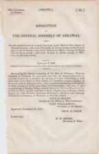 Resolutions of Arkansas Assembly 1846 Mail Route from Little Rock to Fort Smith